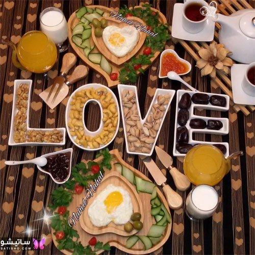 نمونه تزیینات عاشقانه میز صبحانه