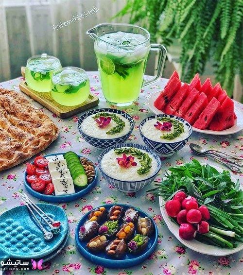 تزیین سنتی میز صبحانه