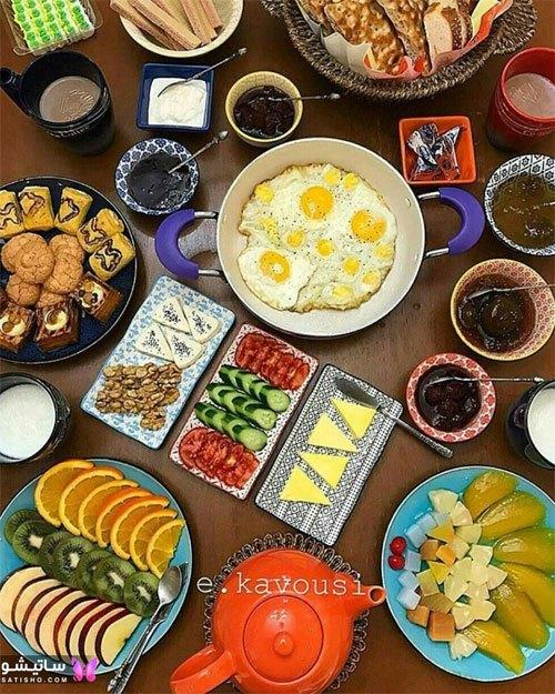 تزیین میز صبحانه با میوه جات