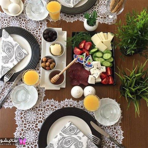 جدیدترین مدل تزیین میز صبحانه عروس