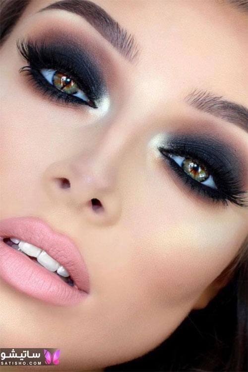 مدل میکاپ و آرایش لایت عروس با سایه چشم دودی