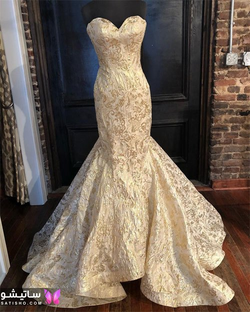 لباس عروس یقه دلبری در اینستاگرام