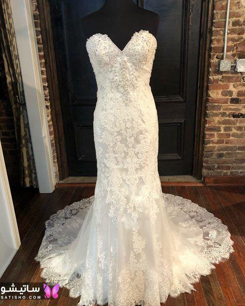 مدل لباس عروس دکلته پف دار