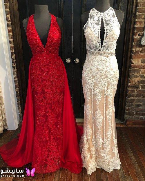 مدل لباس شب شیک دخترانه رنگ قرمز