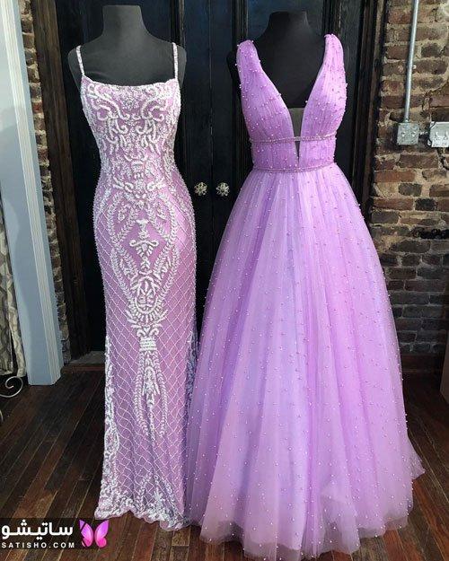 لباس مجلسی شیک دخترانه رنگ بنفش