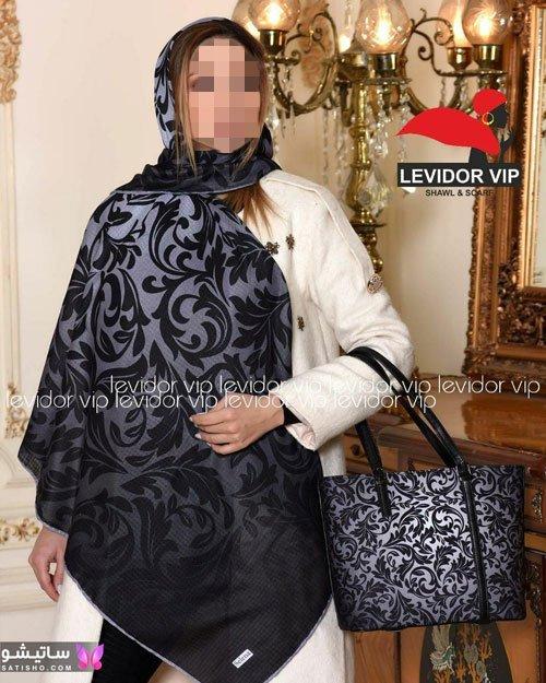 کیف و روسری مشکی طرحدار