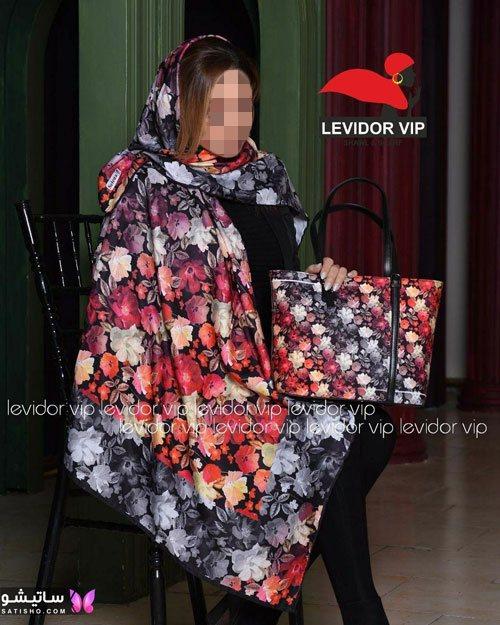 ست کیف و روسری گل دار دخترانه