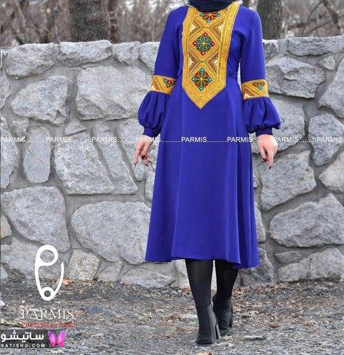 مدل مانتو دخترانه رنگ آبی مناسب عید