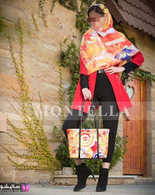 کیف و روسری ست رنگارنگ