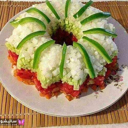 سالاد شیرازی به شکل کیک