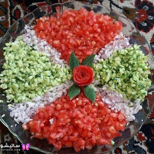 بهترین ایده برای تزیین سالاد شیرازی برای شام