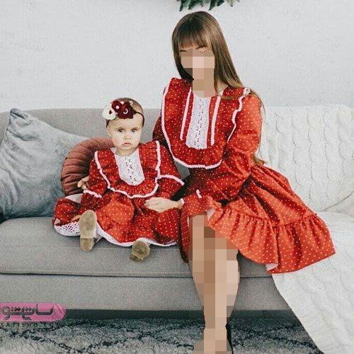 ست مادر دختری مانتو مجلسی قرمز
