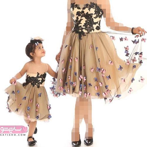 لباس مجلسی کوتاه ست برای مادر و دختر