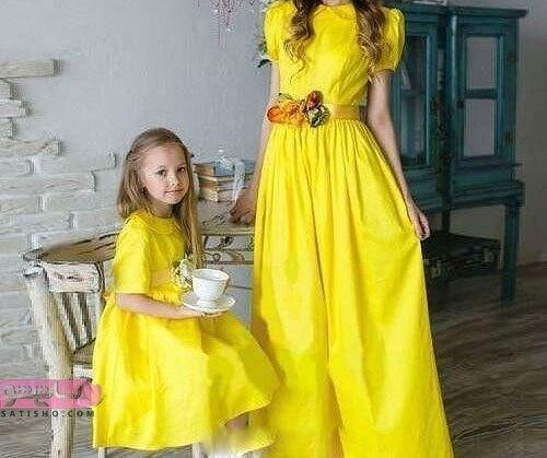 پیراهن ست زرد رنگ برای ست کردن مادر دختری