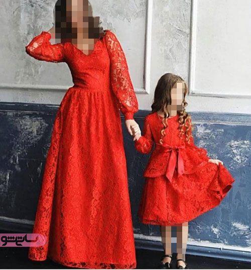 ست مادر دختری پوشیده