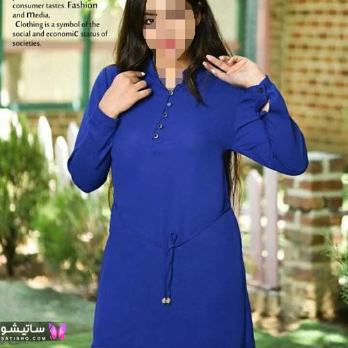 زیباترین مدل شومیز بلند زنانه رنگ آبی کاربنی