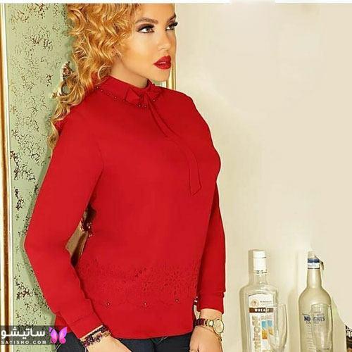 شومیز کوتاه زنانه رنگ قرمز
