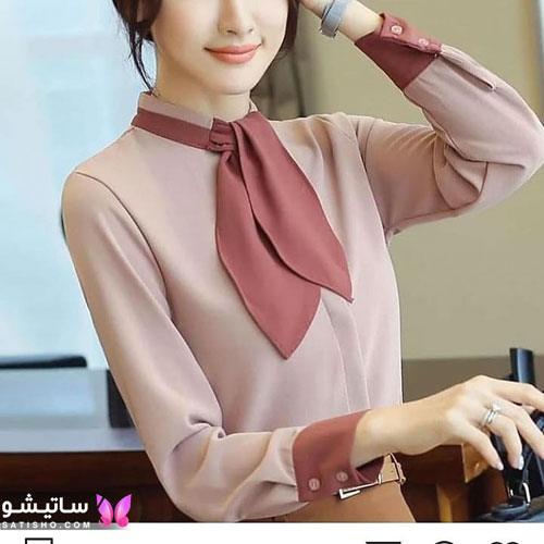 شومیز دخترانه جدید 99 مدل یقه کراواتی