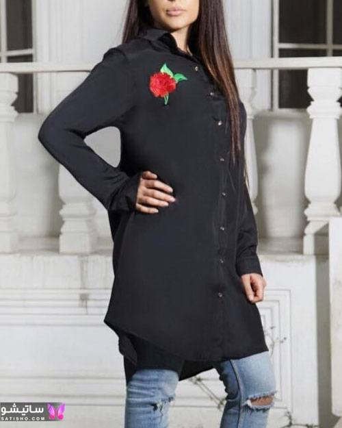 مدل شومیز مشکی گلدار زنانه