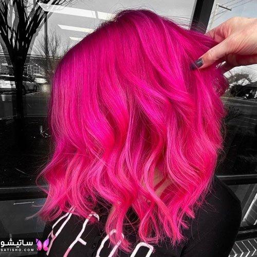 رنگ مو ترکیبی روشن بدون دکلره صورتی رنگ