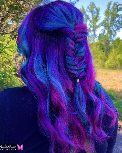 رنگ مو سال 2020 آبی فانتزی