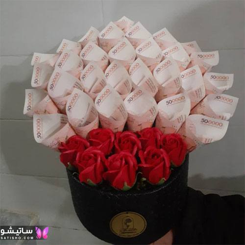 ایده جذاب برای تزیین باکس پول و گل