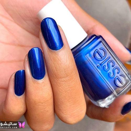 جدیدترین مدلهای طراحی ناخن رنگ آبی کلاسیک رنگ سال ۹۹
