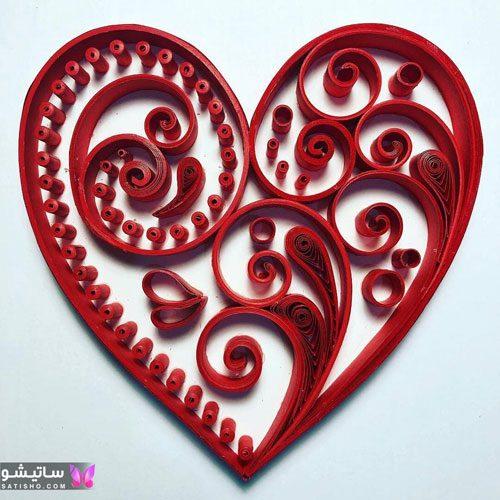 تابلوی ملیله دوزی به شکل قلب قرمز