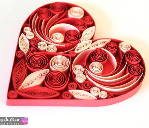 ملیله کاغذی گل رز قرمز در قلب