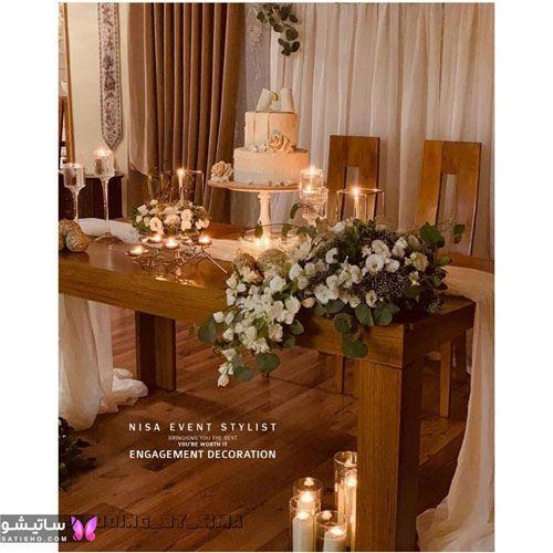 تزیین میز نامزدی با کیک سفید خوشگل