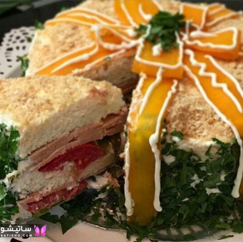عکس تزیین سالاد الویه با نان تست