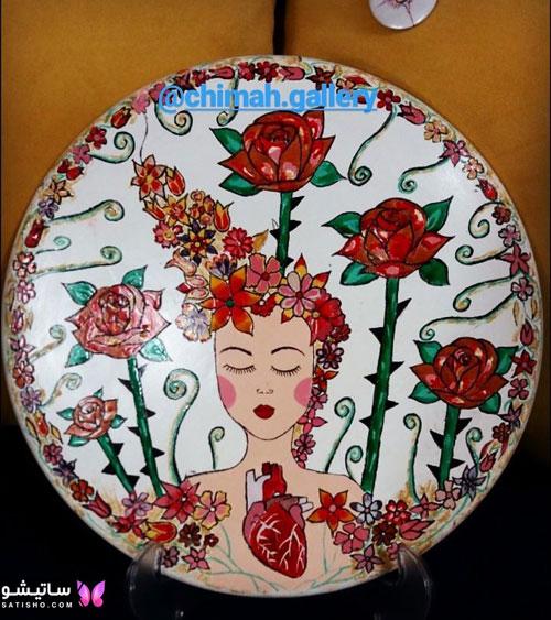 بشقاب دیواری طرح دختر و گل سرخ
