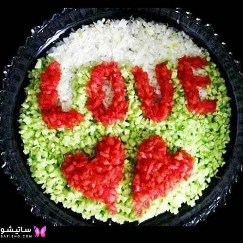 تزیین سالاد گوجه خیار به شکل قلب