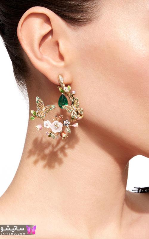 مدل گوشواره ظریف دخترانه گل برجسته