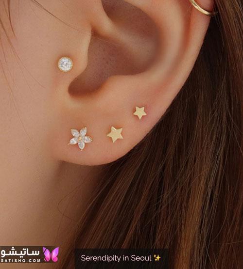 گوشواره میخی مدل ستاره برای سوراخ دوم و سوم گوش