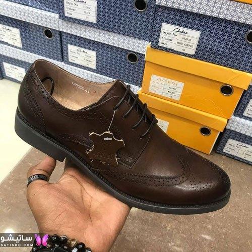 کفش چرم مردانه قهوه ای تیره