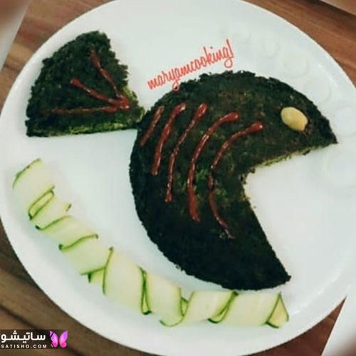 تزیین کوکو سبزی به شکل ماهی