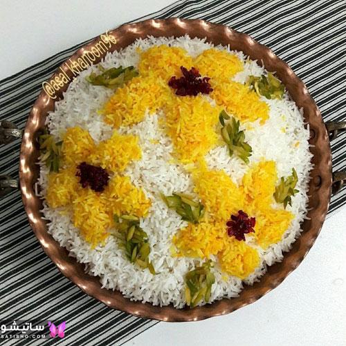 مدل های جدید تزیین برنج با زعفران