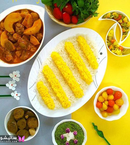 تزیین برنج با زعفران خوشمزه و مجلسی