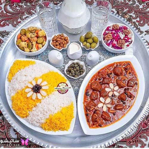 عکس تزیین چلو گوشت مجلسی