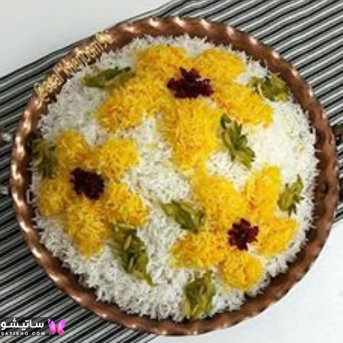 تزیین برنج سفید مجلسی با شابلون گل