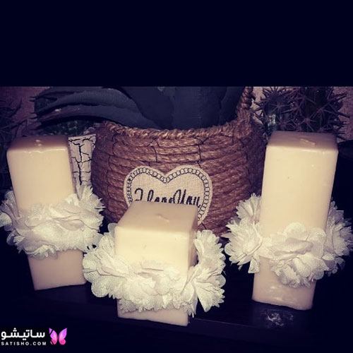 ایده تزیین شمع با گل خشک
