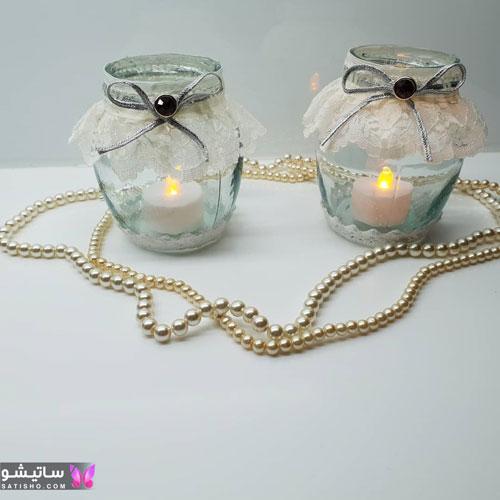 مدل تزیین شمع با گل کریستالی