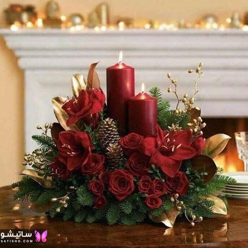 شمع آرایی با گل