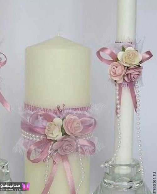ایده تزیین شمع استوانه ای