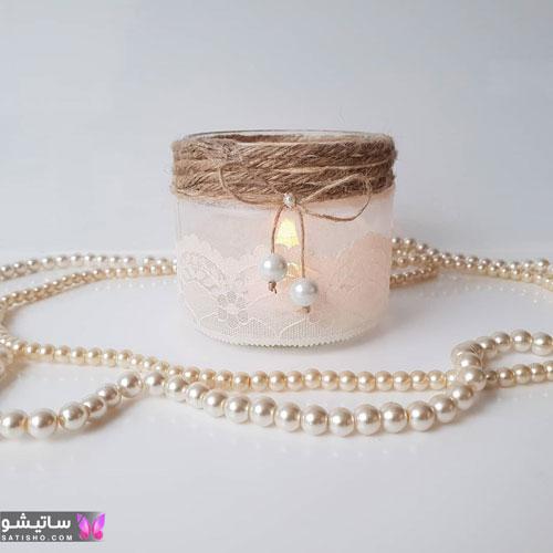 مدل تزیین شمع با سنگ