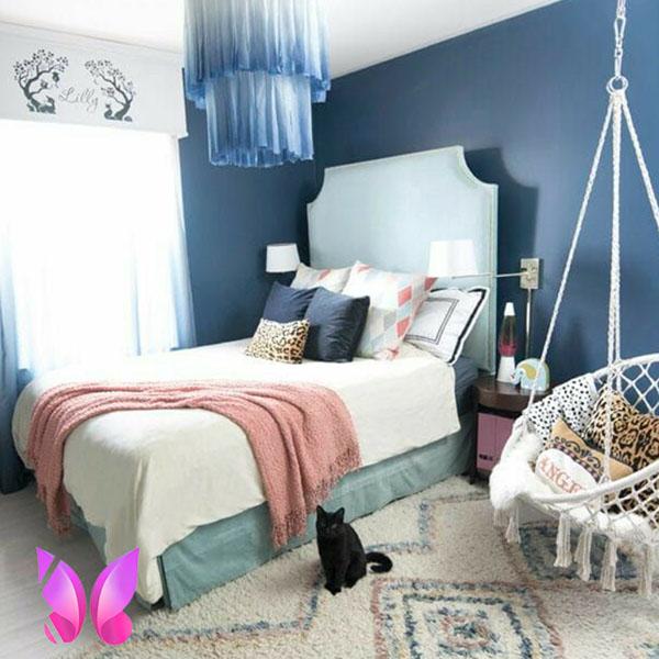 مدل طراحی دکوراسیون اتاق خواب پسرانه سورمه ای و شیک