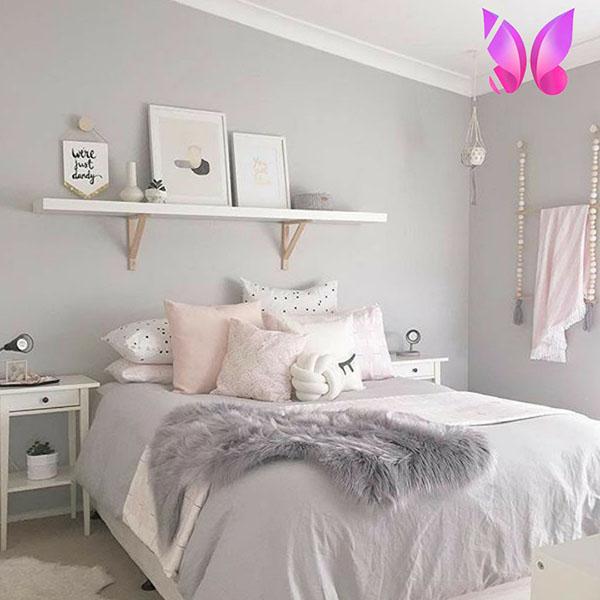 طراحی دکوراسیون اتاق خواب نوجوان دخترانه ملیح