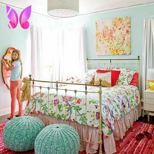 اتاق خواب نوجوان دخترانه رنگ های شاد