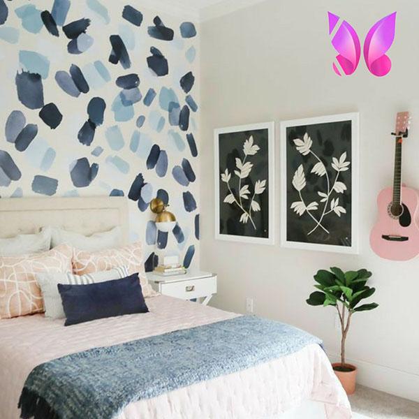 طراحی اتاق خواب نوجوان دخترانه سورمه ای صورتی زیبا و شاد